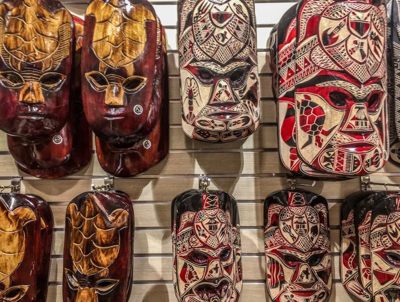 Fijian carved masks souvenirs