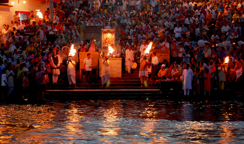 The nightly Aarti sunset ceremony on the river Ganges