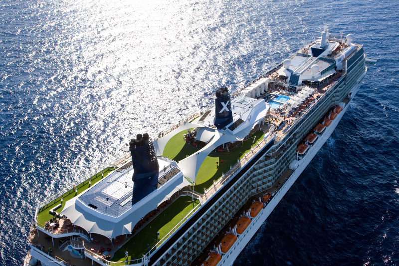 Aerial view of Celebrity Solstice
