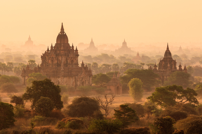 A misty morning in magical Bagan, temples peeking out of the fog