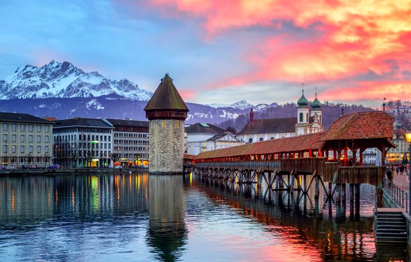 The Chapel Bridge Lucerne, Switzerland