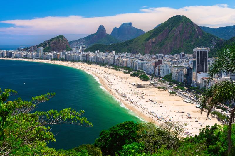 Beautiful Copacabana Beach aerial view