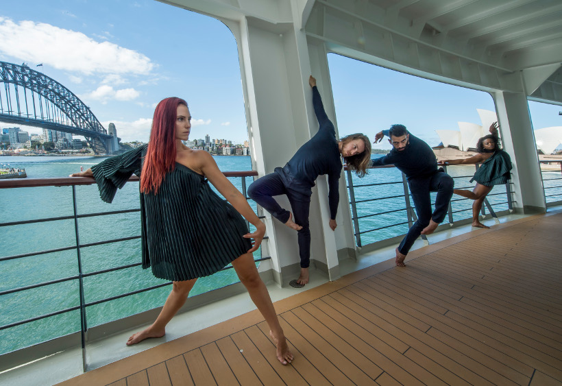 Australian dance theatre dancers onboard cunard queen elizabeth