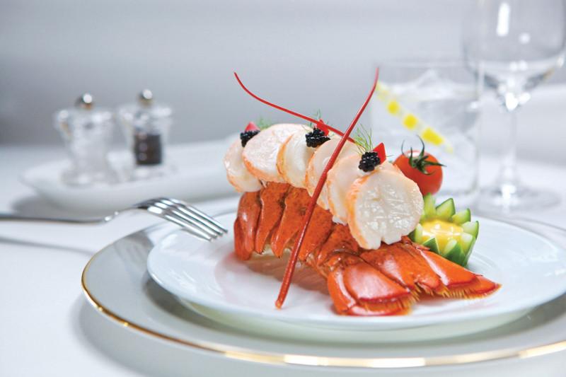 Lobster fine dining dish on Emirates flight