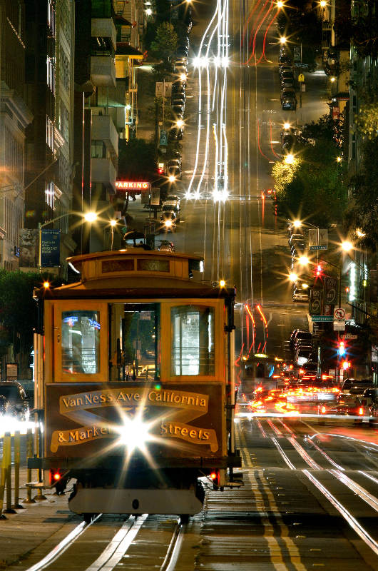 tram with steep hill behind san francisco