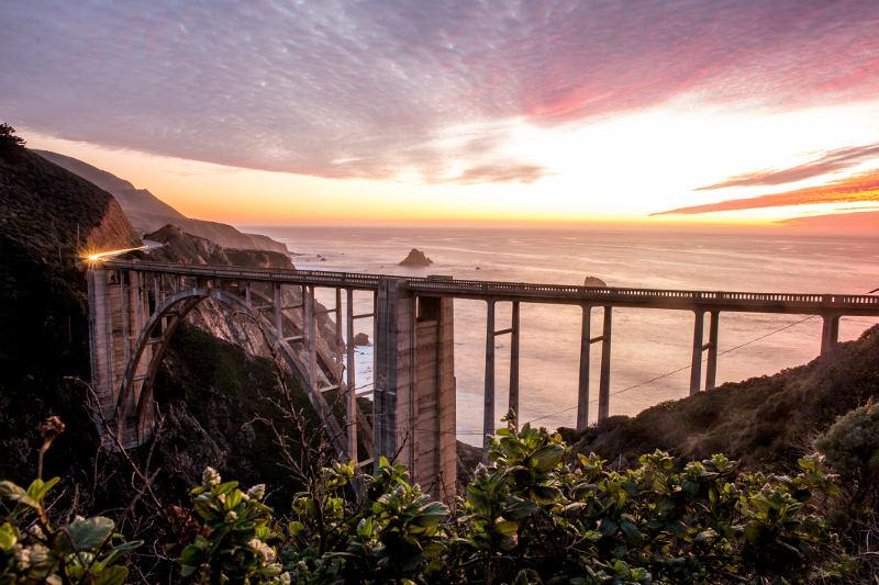 bridge on big sur coastline california
