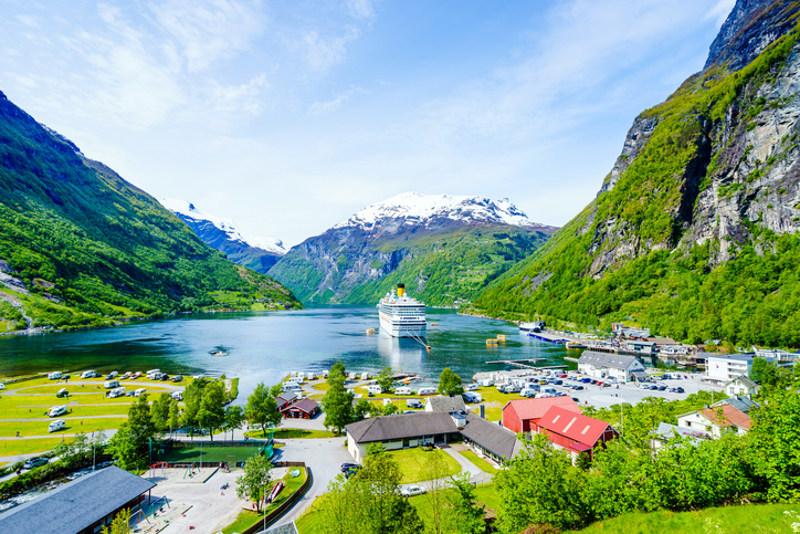Cruise ship in scenic fjord