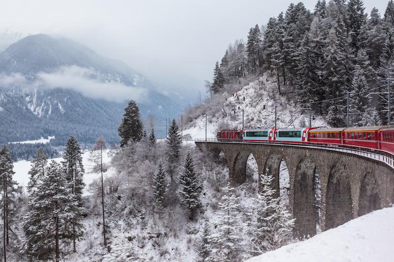 The Glacier Express railway in Switzerland