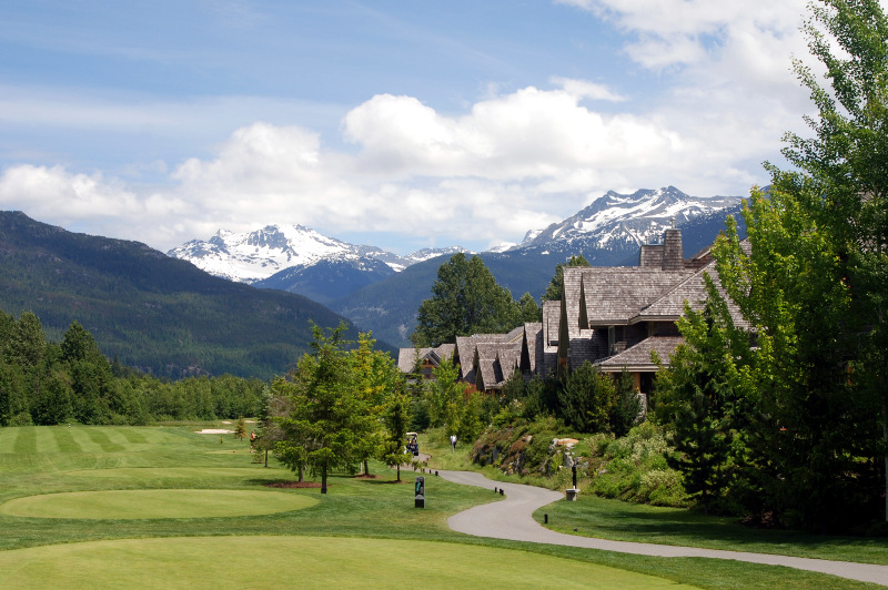 Golf course in Whistler with mountains in background