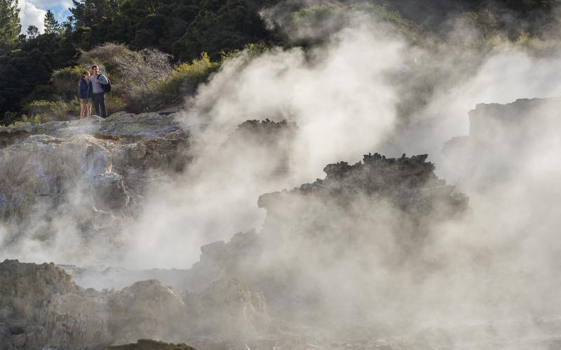 Hells Gate Rotorua Couple overlooking Inferno Pools