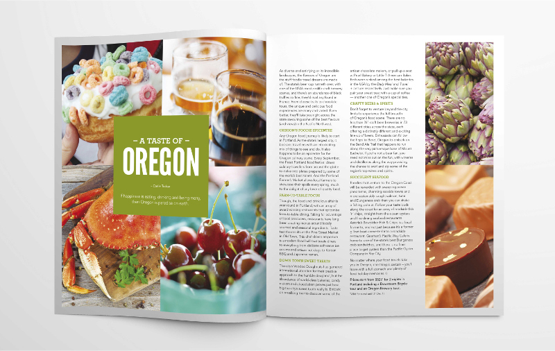 Foodie article Oregon in travel magazine