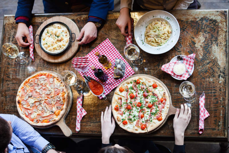 Italian table pasta pizza