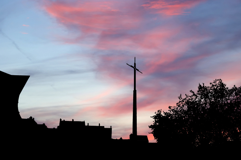 Silhouette of St Joan of Arc cross in Rouens