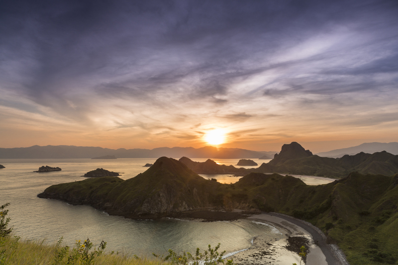 Sunrise over beautiful tropical island in Indonesia