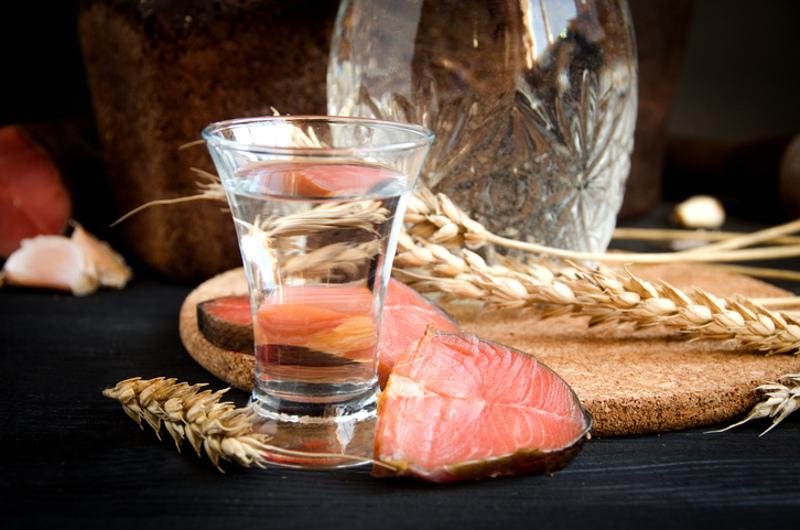 Vodka and salmon