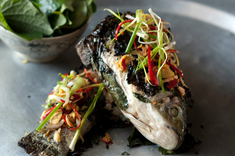 Get a taste of Luke Nguyen's famed Golden Fish onboard.