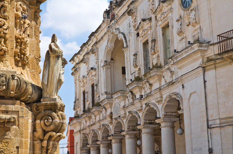 Intricate Baroque architecture in an alleyway in Nardo, Puglia