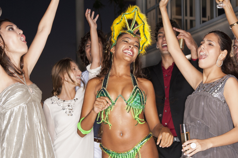 People partying with a samba dancer