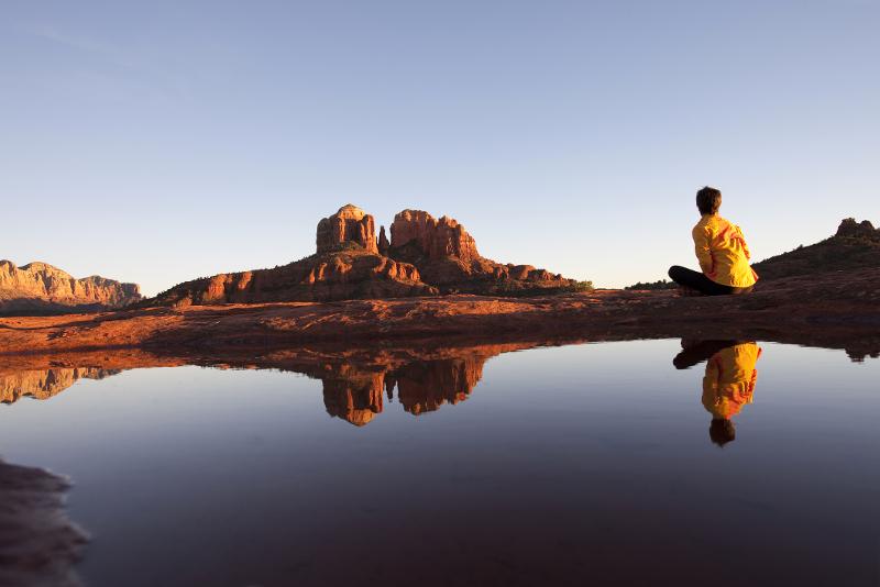 Sedona landscape with women meditating
