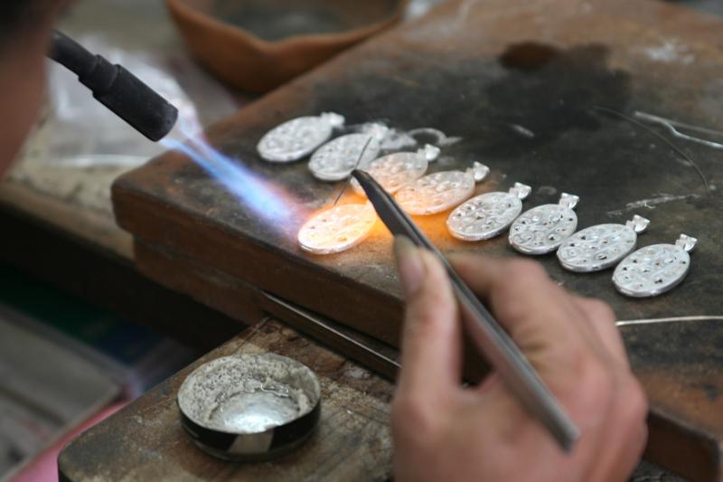 Silversmith making jewellry in Bali