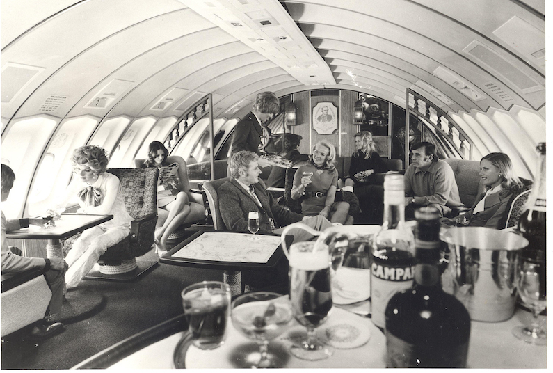 First class upper deck in Qantas 747 in 1971