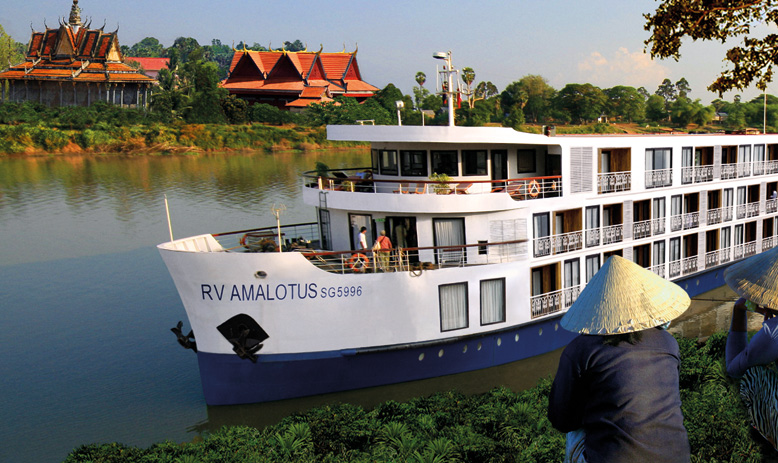The RV AmaLotus docked on the banks of the mighty Mekong