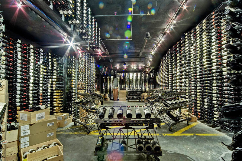 Wine cellar with bottles lining the walls, Whistler