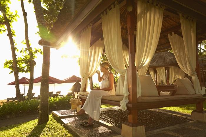 Woman on luxury Bali holiday