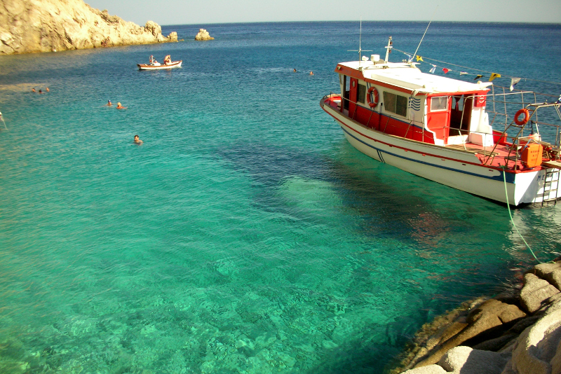 Beautiful waters in a cove in Ikaria, Greece.