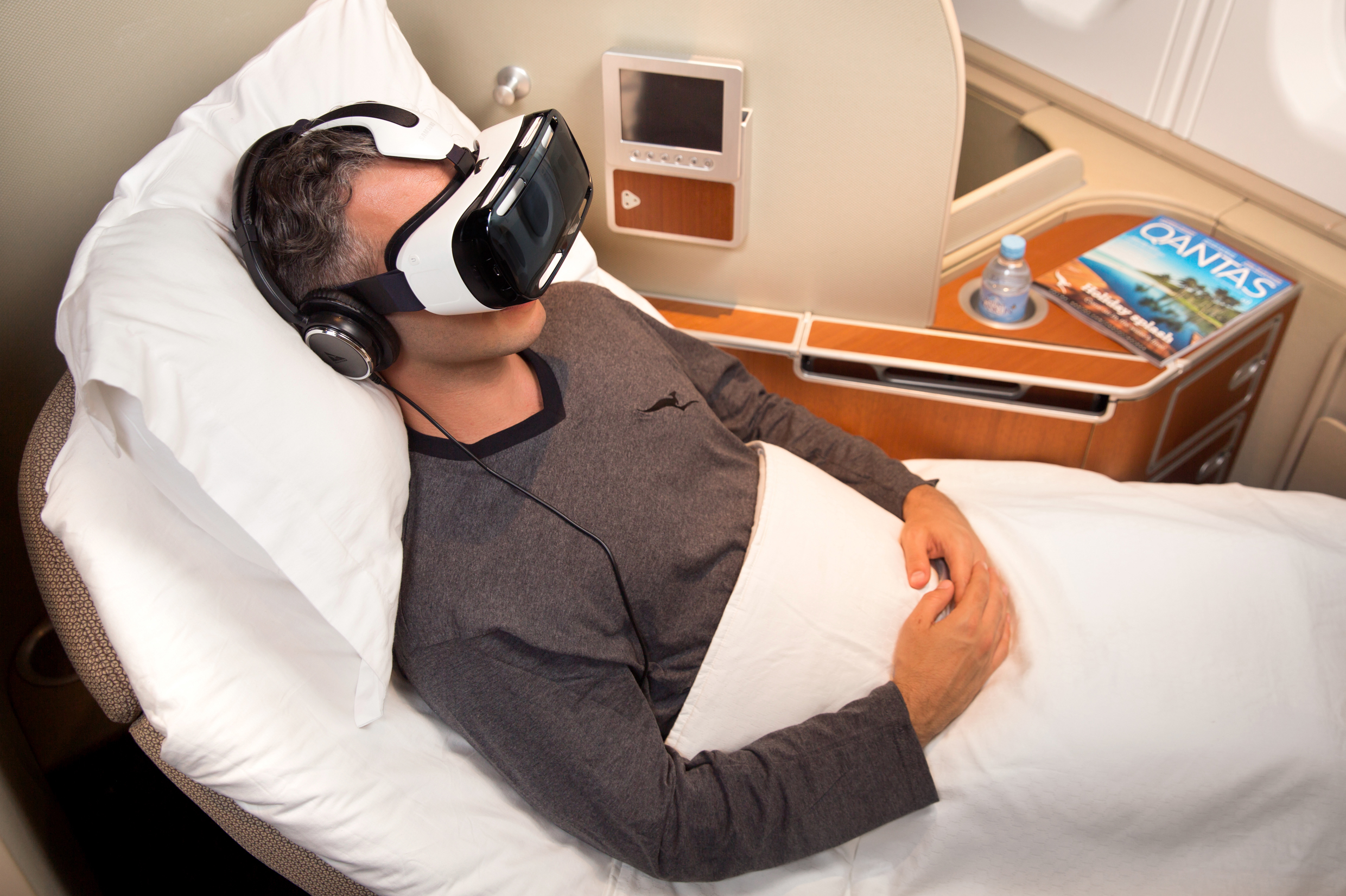 Qantas together with Samsung Electronics Australia has launched a new trial entertainment service that uses virtual reality technology to give customers a spectacular 3D experience. Source: Qantas.