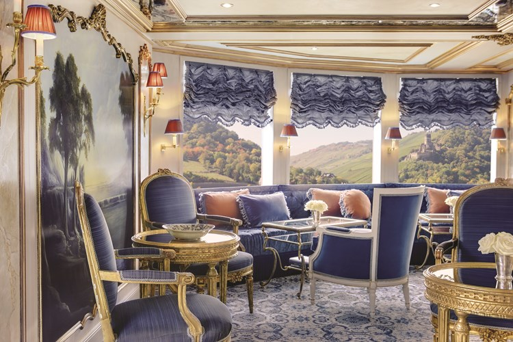 A glimpse of the artwork and glamour inside the Habsburg Salon on board Uniworld
