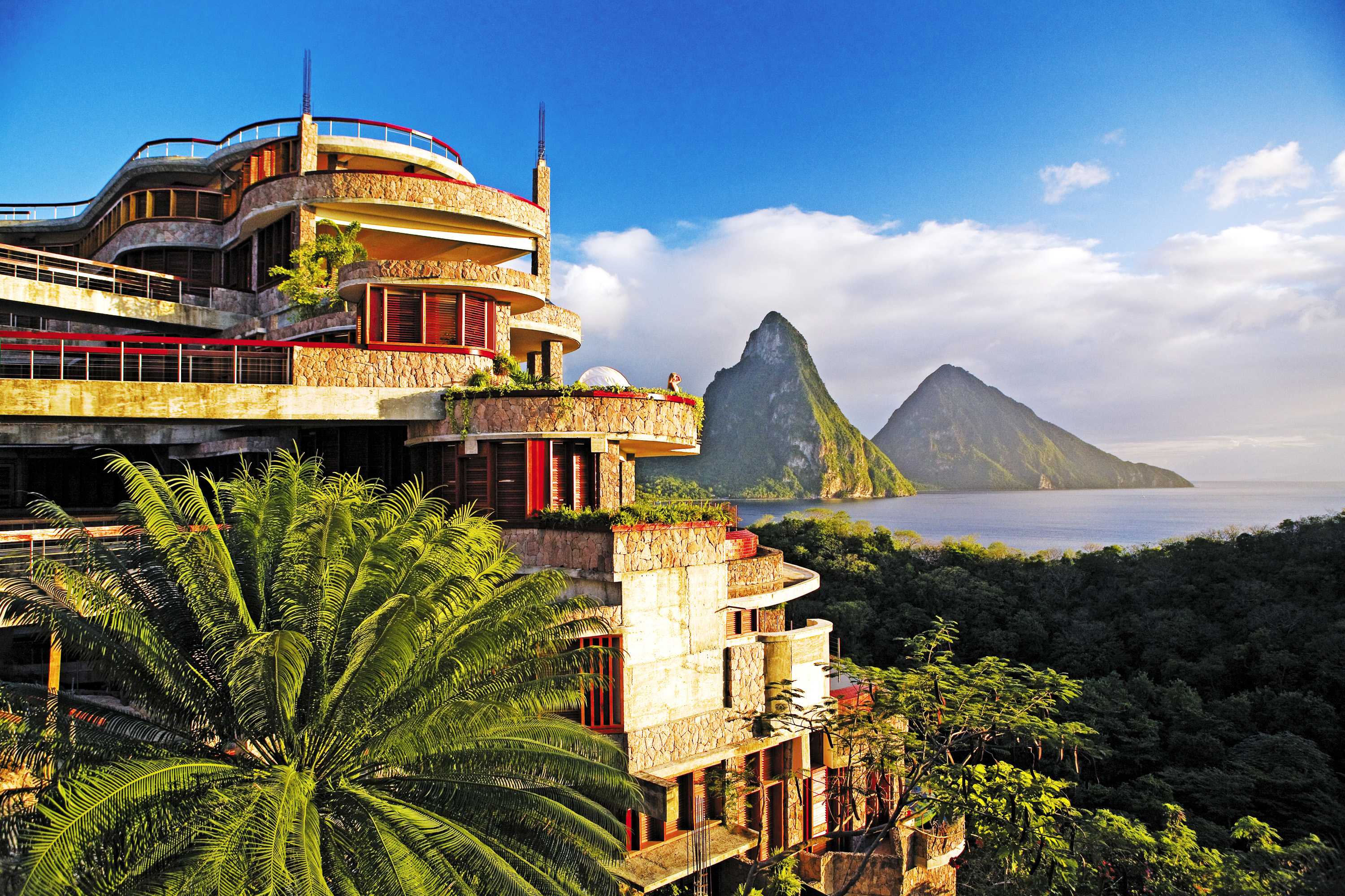 This image: The bold architectural design of Jade Mountain, St Lucia.