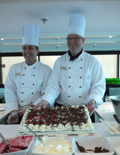 This image: The Chef and staff guide guests through making their own Black Forest cake, the day after SS Antoinette sailed past the Black Forest.