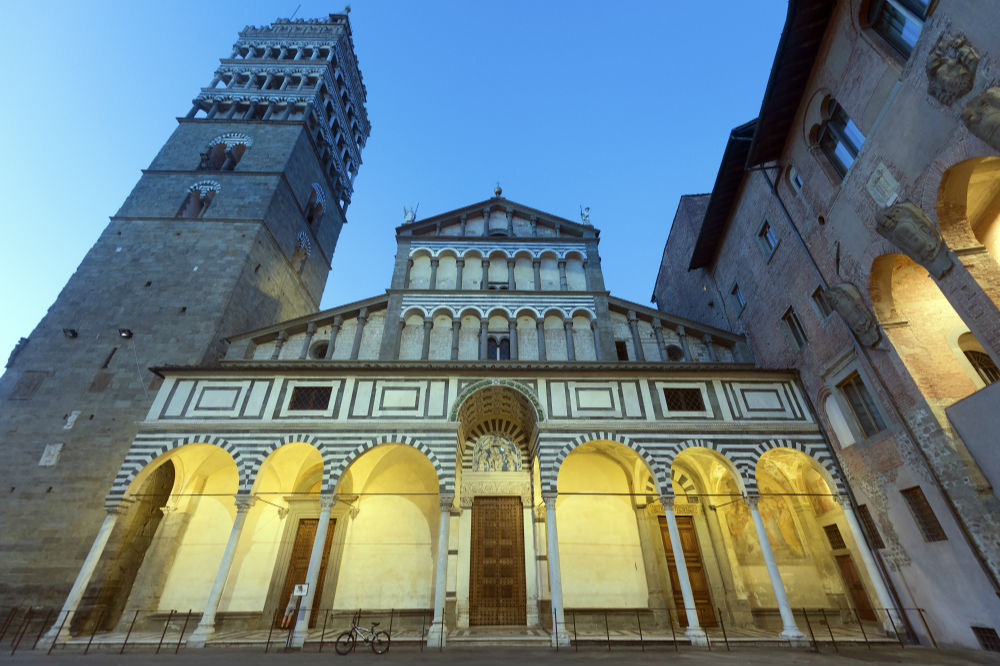 This image: Bell Tower and the Cathedral in Piazza Duomo, Pistoia, Tuscany.