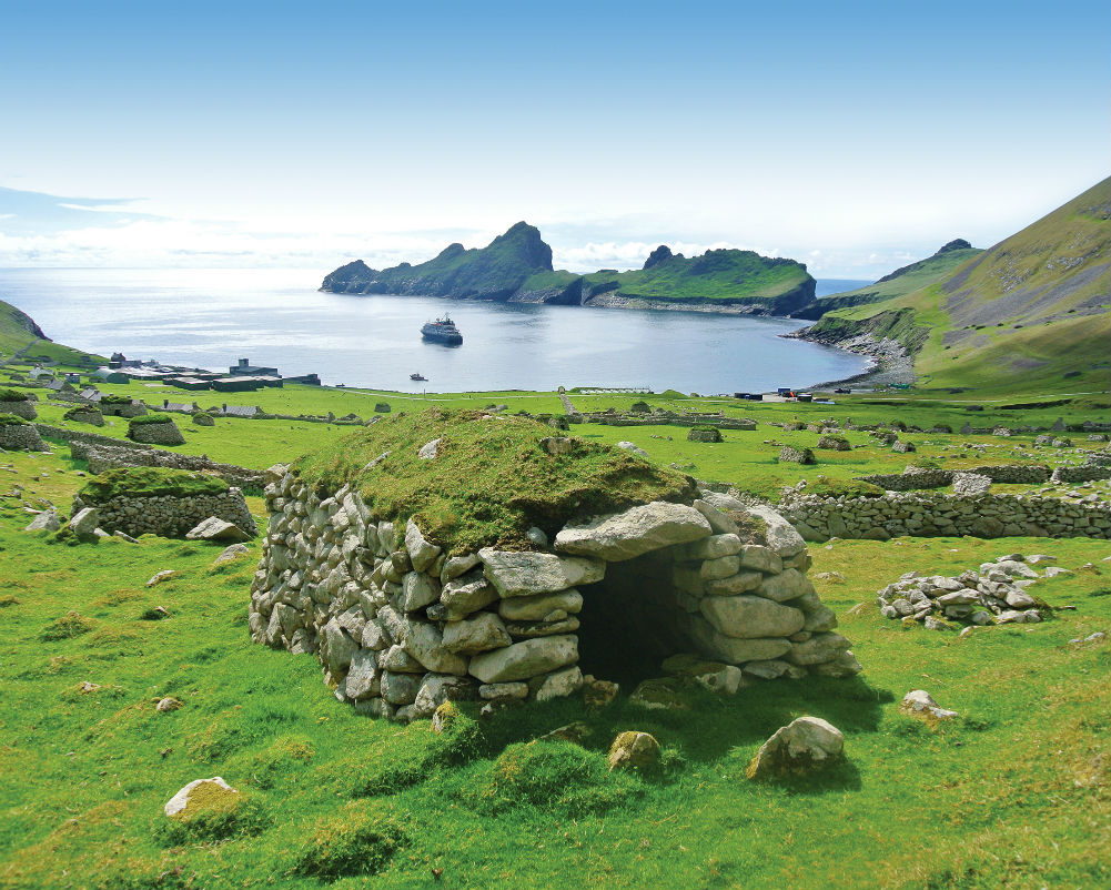 This image: A cleit above Village Bay on the isolated archipelago of St. Kilda, Scotland.