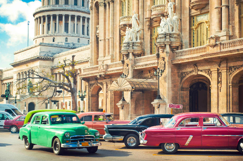 Classic cars parked in Havana, Cuba.