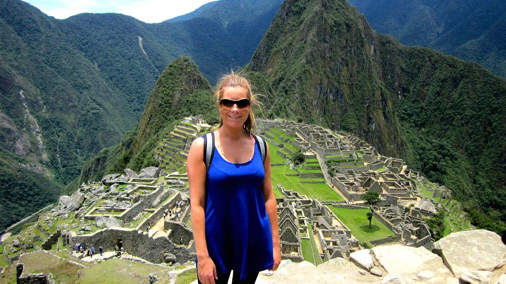 """Emma Lucas at Machu Picchu, or """"old peak"""" in Quechuan language, Peru."""