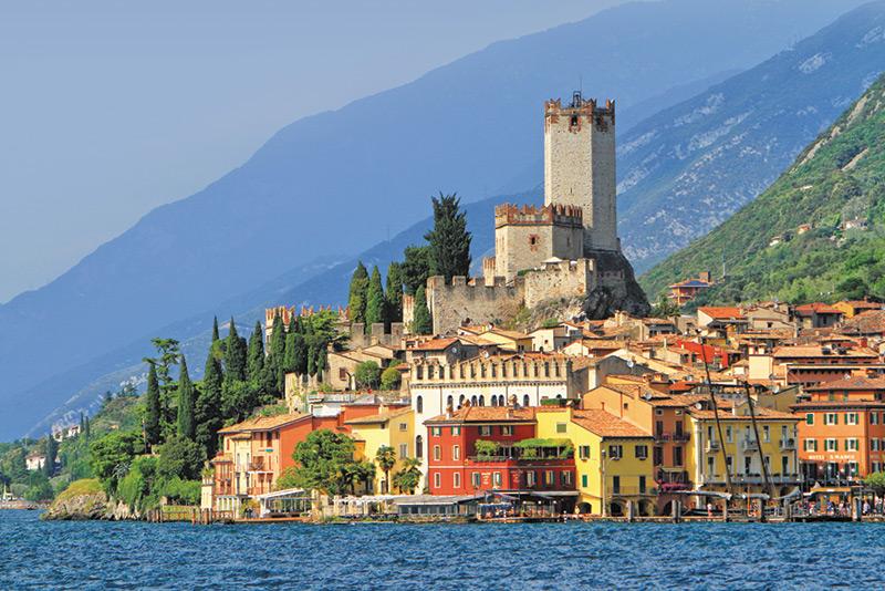 The charming lakeside town of Malcesine, Lake Garda, Italy.