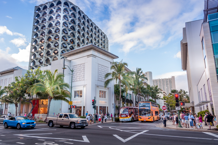 Kalakaua Avenue is the main shopping strip, characterized by luxury retail outlets.
