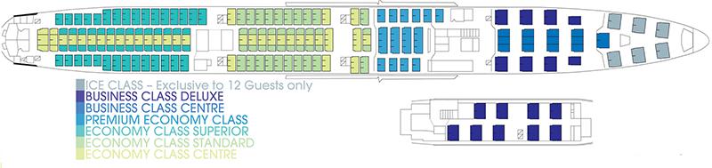 Chartered Qantas 747-400ER cabin plan for Antarctica Flights. Image: Antarctica Flights