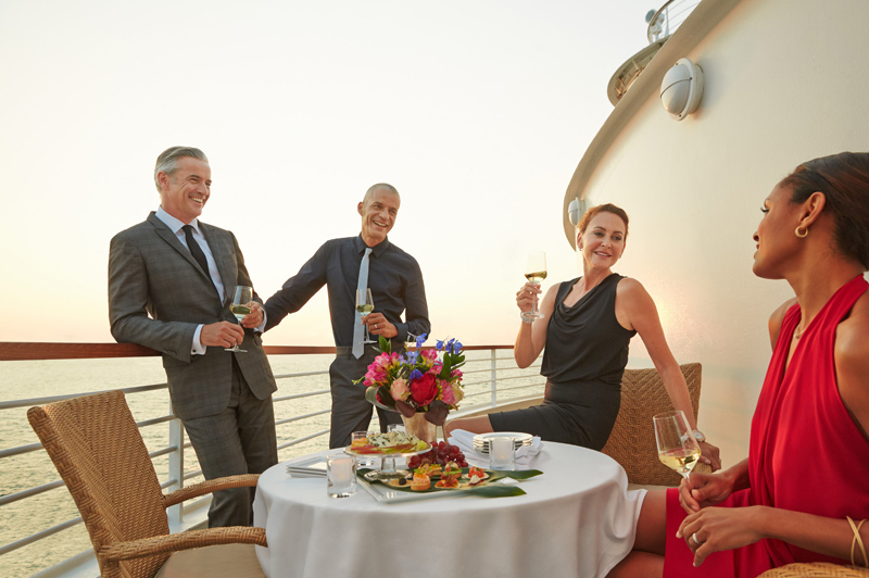Enjoy canapes with friends alfresco-style on your ship