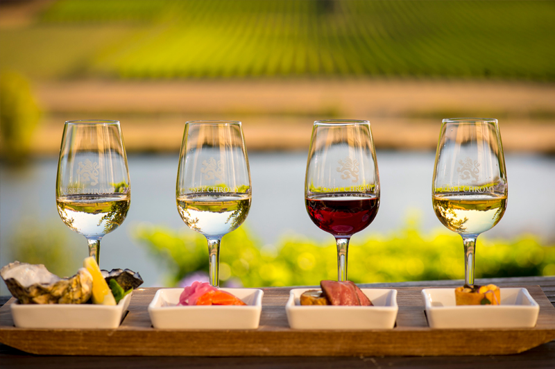 Selection of wines at Josef Chromy Winery.