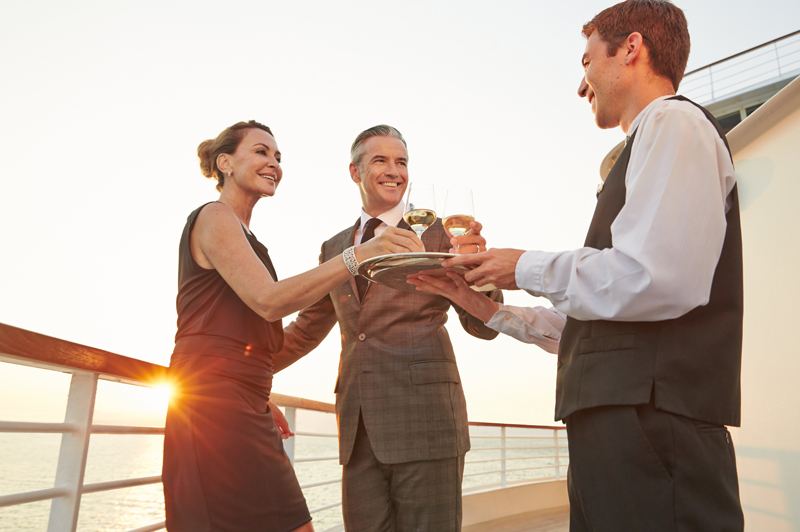 Couple sailing with Seabourn