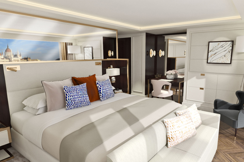 Artists impression of a Crystal River Cruises suite. Image: Crystal Cruises
