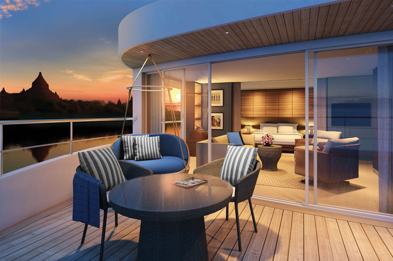 Artists impression of Scenic Aura debuting on the Irrawaddy in 2016. Image: Scenic