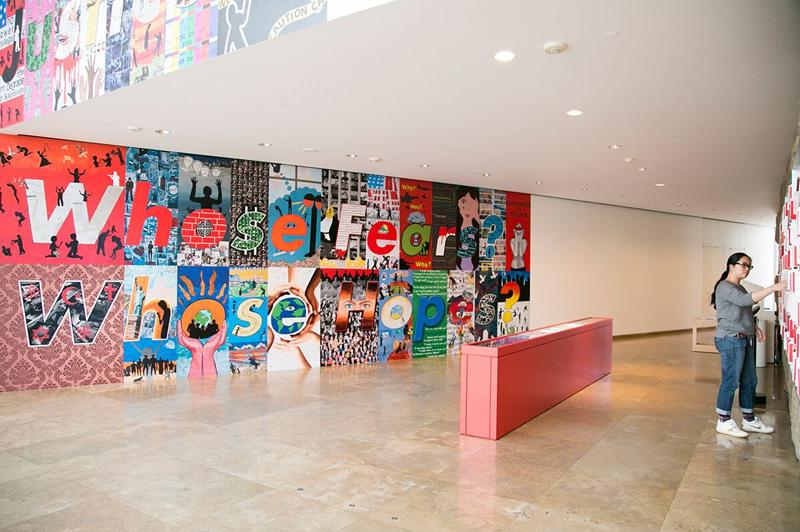Getty Center, Barbara Kruger. Untitled (Hello/Goodbye) exhibition, 2014. © Brian Forrest.