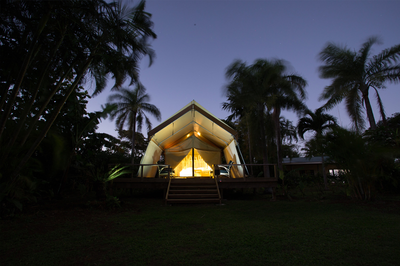 At night underneath all those stars nowhere is as cosy as a luxury safari tent in the South Pacific. Image courtesy of Ikurangi Eco Retreat.