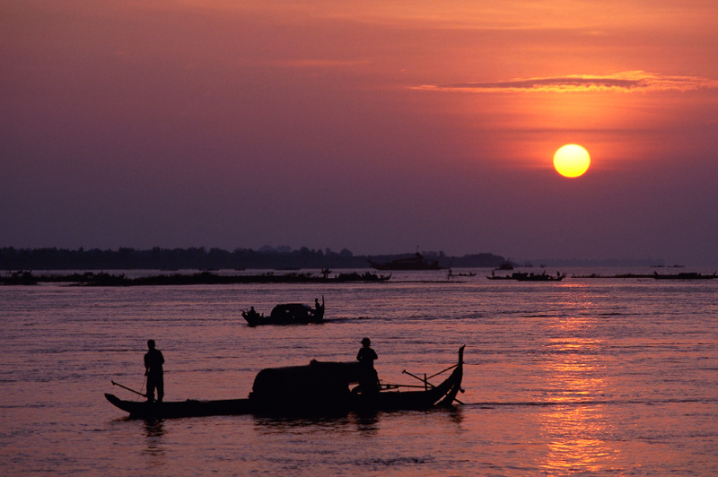 Life on the Mekong River at dawn, Cambodia. Image: Getty