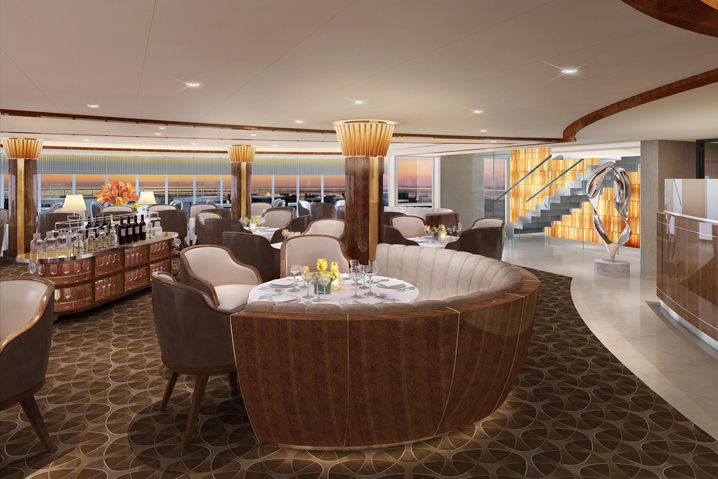 Designed by Adam D. Tihany, here's how The Grill will look on Seabourn Quest. Image: Seabourn