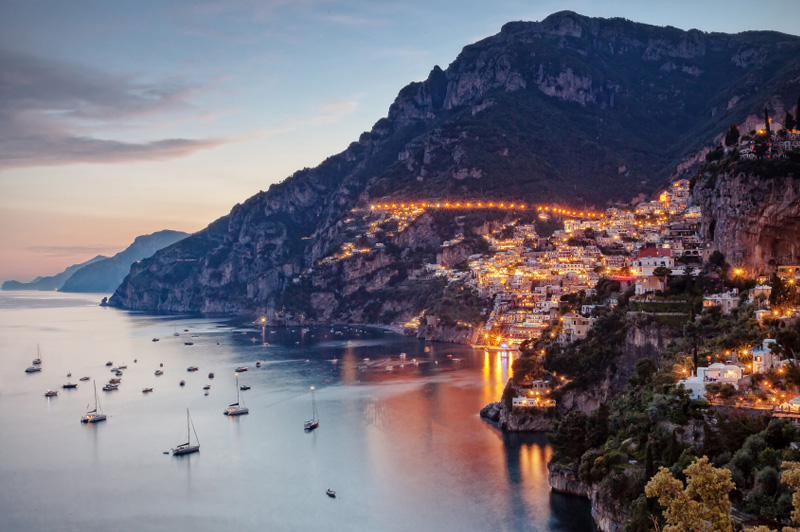 Positano lit by street lights. Image: Getty